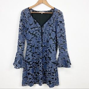 Adore Denim Patch Floral Bell Sleeve Midi Dress